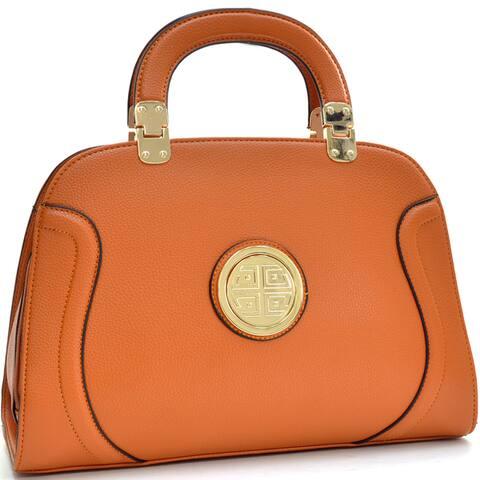 Dasein Goldtone Emblem Stitched Handbag by  Coupon