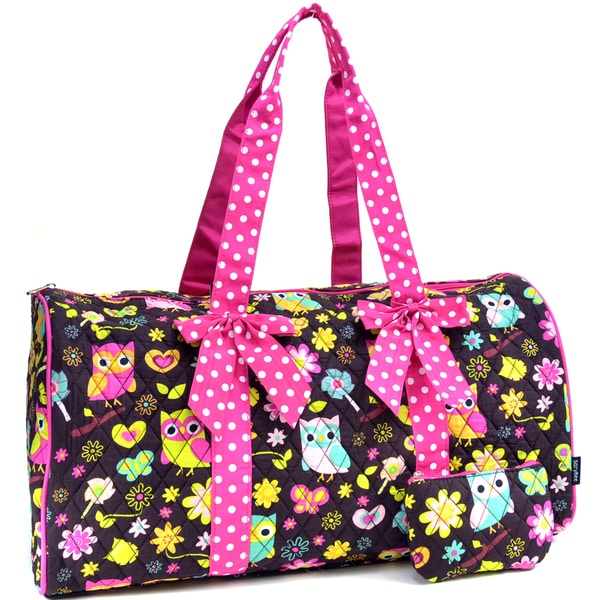 Sazy Bee Designs Owl And Floral Print Quilted Cotton Duffel Bag - Free Shipping On Orders Over ...