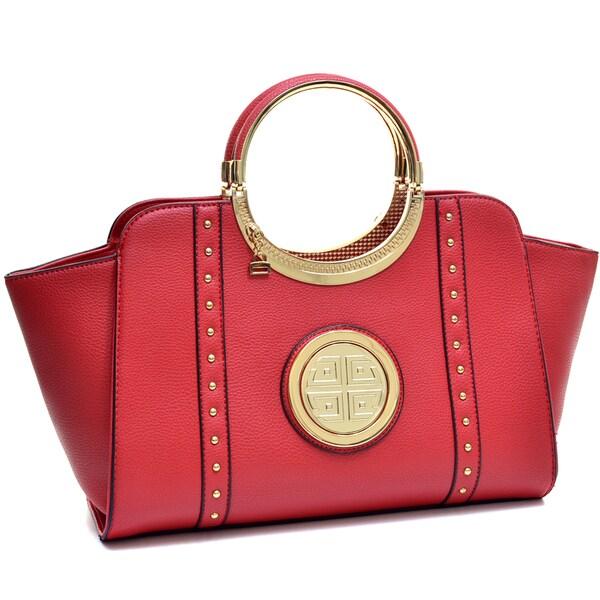 Dasein Goldtone Studded Emblem Winged Bag