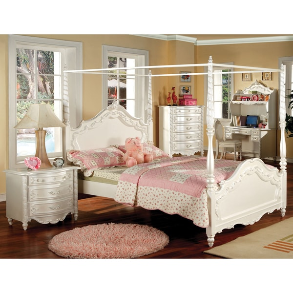 Furniture of America Talia Pearl White 2-Piece Canopy Bed Set - Free ...