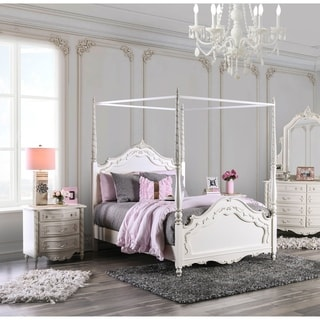 Furniture of America Talia Pearl White 2-Piece Canopy Bed Set