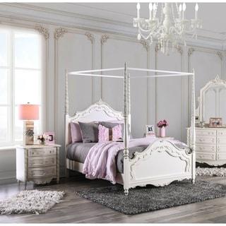 Furniture of America Talia Pearl White 2-Piece Canopy Bed Set