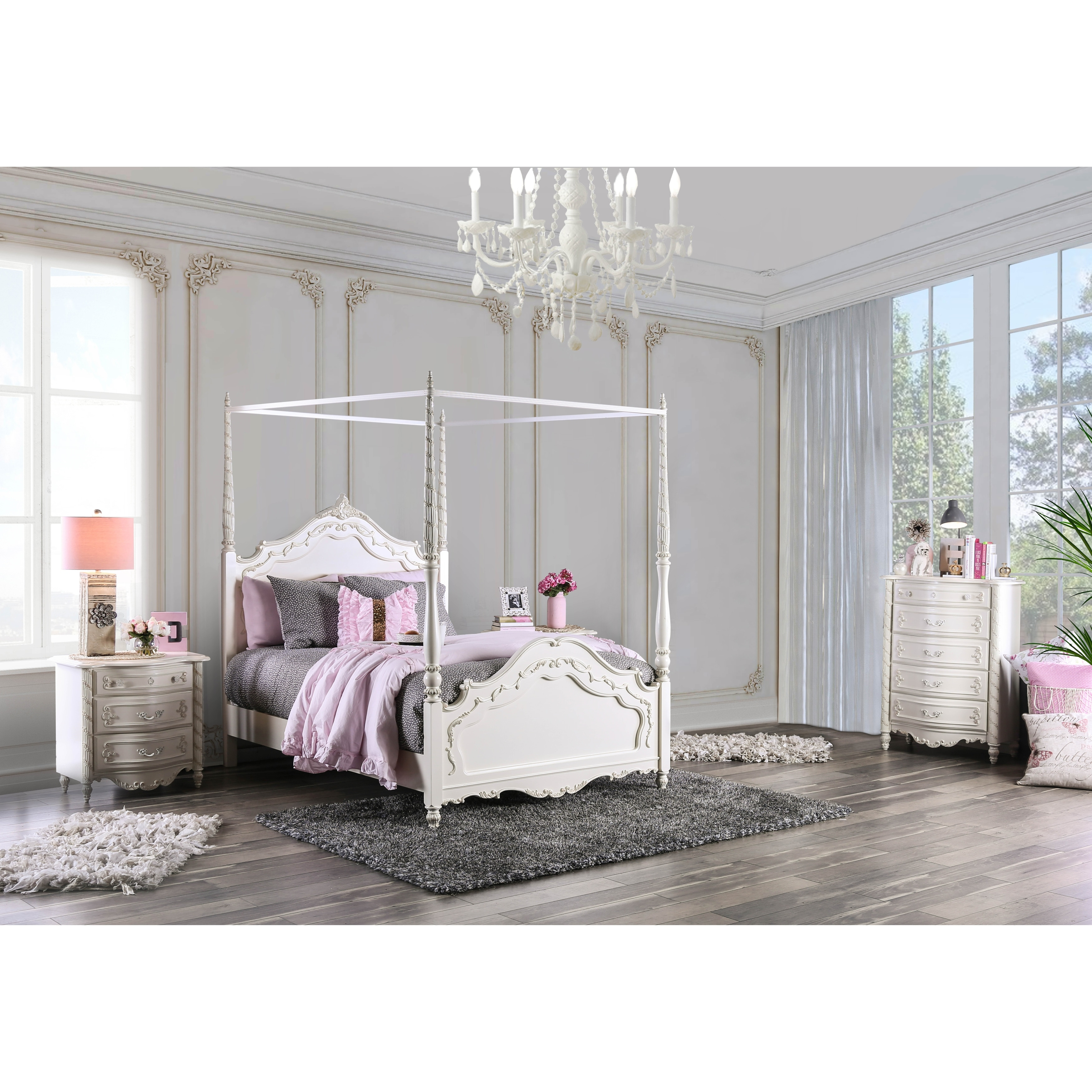 Furniture Of America Imer Traditional White 3 Piece Canopy Bed Set Overstock 9378662
