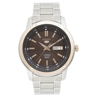 Seiko 5 Men's SNKM90 Brown Dial Stainless Steel Watch