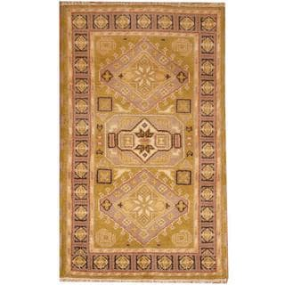 Herat Oriental Indo Hand-knotted Kazak Light Green/ Grey Wool Rug (3' x 5')