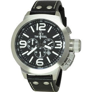 TW Steel Men's Stainless Steel TW4 Canteen Black Dial Watch