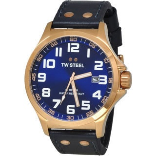 TW Steel Men's Goldtone Stainless Steel TW405 Pilot Blue Watch