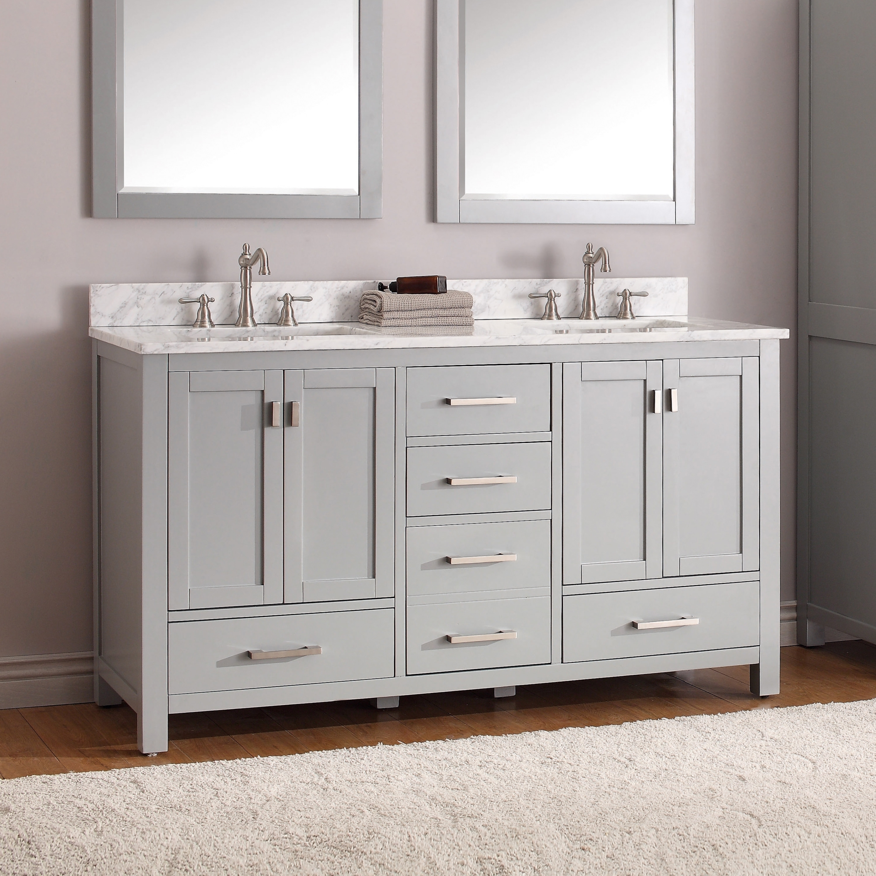Avanity Modero 61 Inch Double Vanity Combo In Chilled Gray With Top And Sink Overstock 9378779
