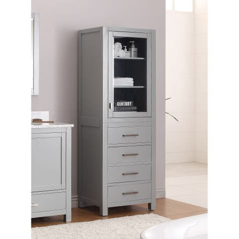 "Avanity Modero 24-inches Chilled Grey Linen Tower - 24""W x 71""H"