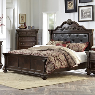 Roxbury Dark Brown Button Tufted Bonded Leather Wood Bed