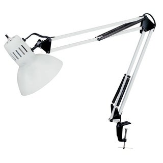 Glossy White Clamp-on Spring Balanced Desk Lamp