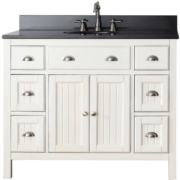 Shop avanity hamilton french white 42 inch vanity combo free shipping today for 42 inch vanities for bathrooms