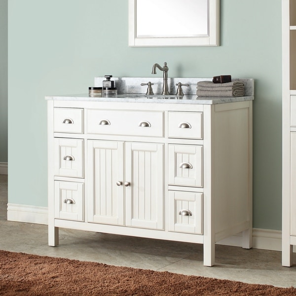 Avanity Hamilton French White 42-inch Vanity Combo with Top and Sink. Opens flyout.