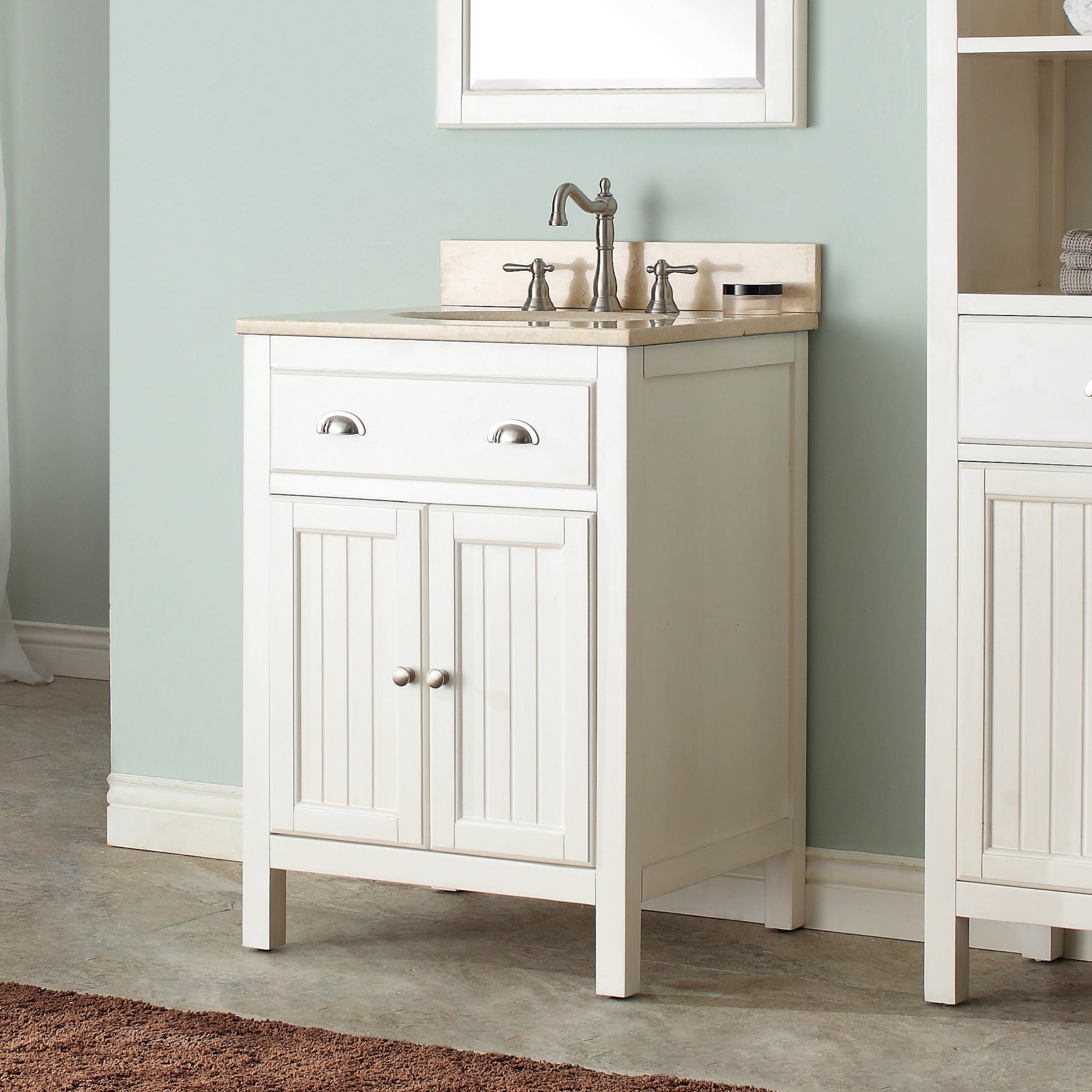 Avanity Hamilton French White 24 Inch Vanity Combo With Top And Sink Overstock 9378840 Carrara White Marble