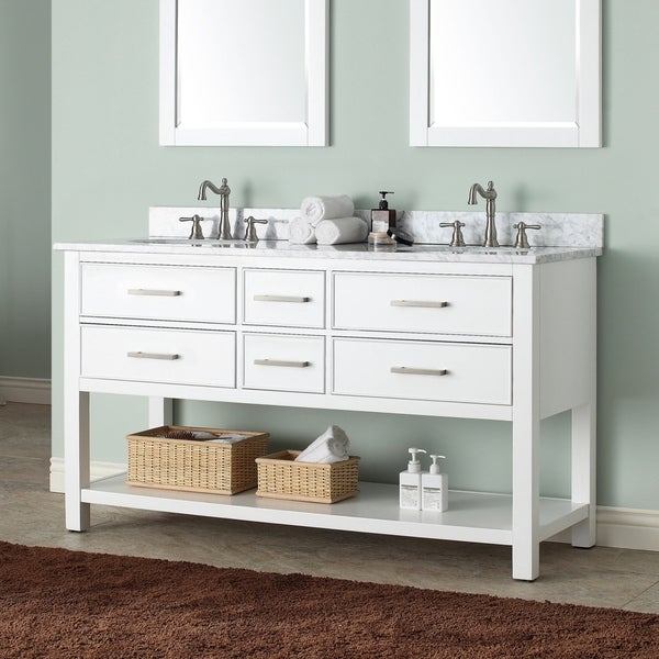 Avanity Brooks 61-inch White Vanity Combo with Top and Sink