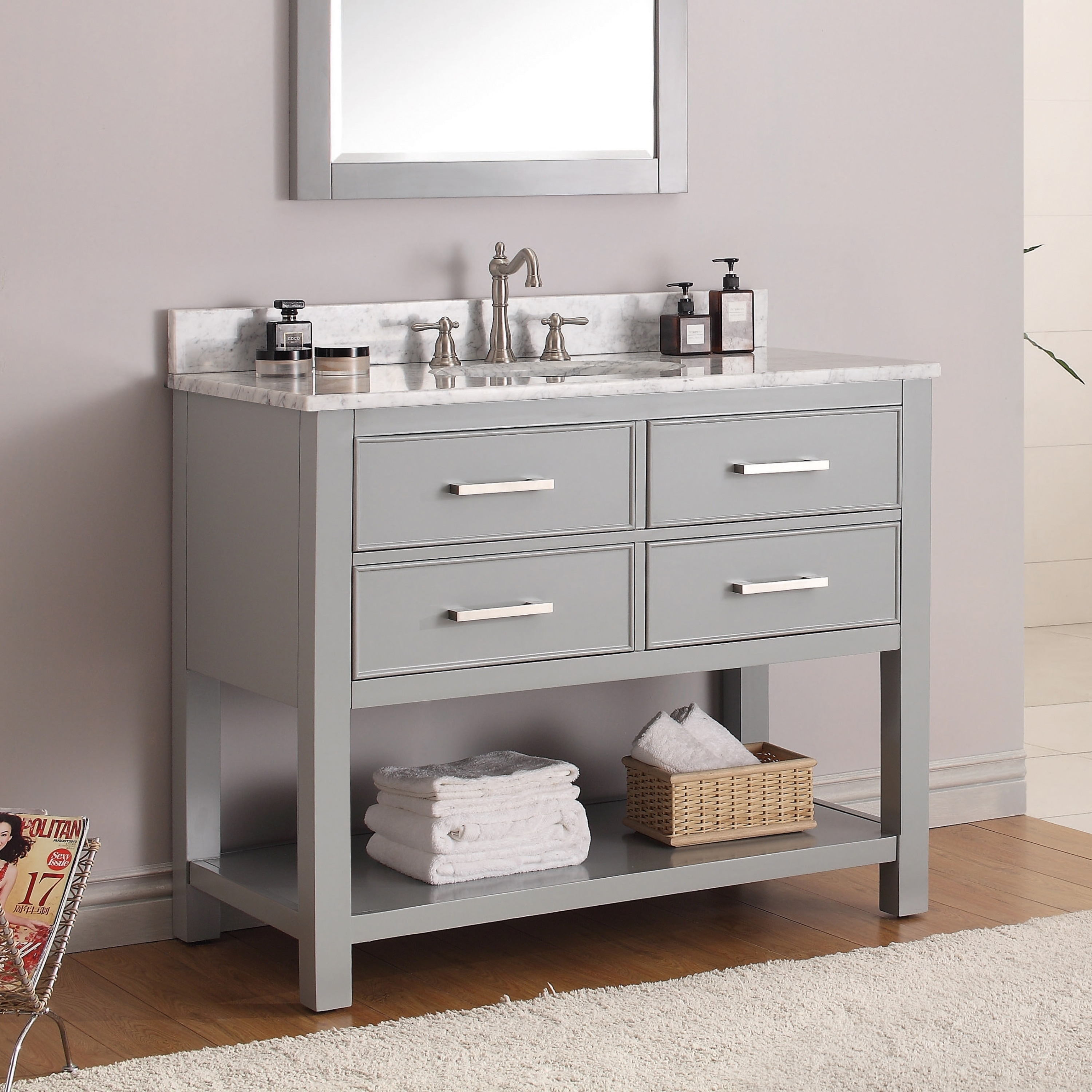 Shop Black Friday Deals On Avanity Brooks 43 Inch Chilled Grey Vanity Combo With Top And Sink Overstock 9378871 Black Granite