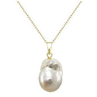 DaVonna 24k Gold over Silver 12-17mm Baroque Freshwater Pearl 18-inch Necklace