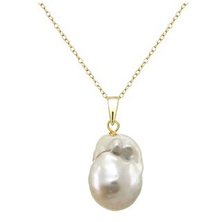 DaVonna 18k Gold over Silver 12-17mm Baroque Freshwater Pearl 18-inch Necklace - Yellow