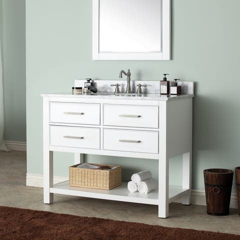 Avanity Brooks White 43-inch Vanity Combo with Top and Sink