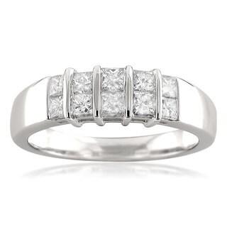 Montebello 14k White Gold 3/4ct TDW Princess-cut White Diamond Anniversary Band