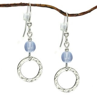 Jewelry by Dawn Sterling Silver Blue Glass Hammered Circle Earrings