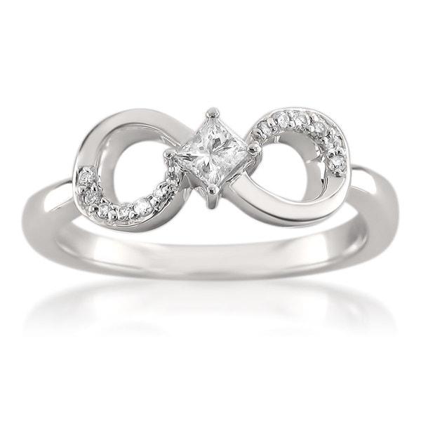 Montebello 14k White Gold 1/4ct TDW Princess-cut Diamond Infinity Symbol Ring