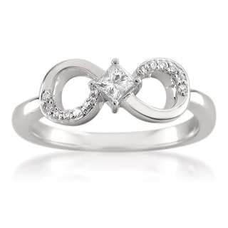 Montebello 14k White Gold 1/4ct TDW Princess-cut Diamond Infinity Symbol Ring