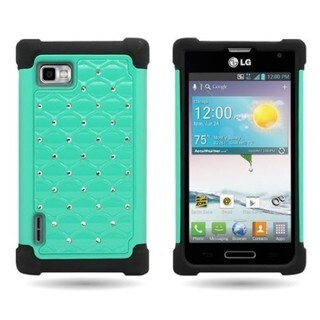 Heavy Duty Hybrid Dual Layer Case with Rhinestones for LG Optimus F3