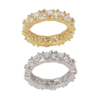NEXTE Jewelry Goldtone or Silvertone Brass Full Trillion Cut Eternity Band (More options available)