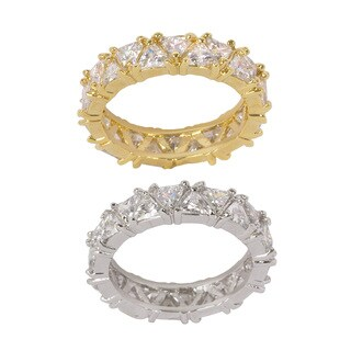 NEXTE Jewelry Goldtone or Silvertone Brass Full Trillion Cut Eternity Band