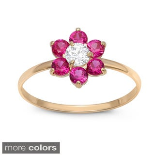 Junior Jewels 10k Gold Multi-color Cubic Zirconia Flower Ring (3 options available)