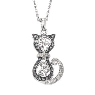 SilverMist Stainless Steel 3/8ct TDW Grey and White Diamond Cat Necklace By Ever One