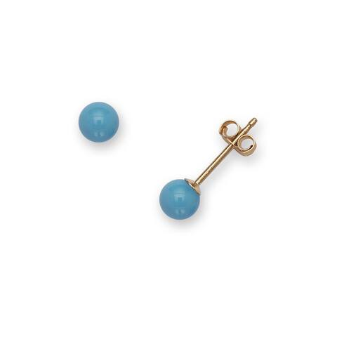 14k Yellow Gold 4mm Reconstructed Turquoise Ball Stud Earrings