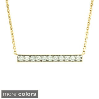 14k White or Yellow Gold 5/8ct TDW Diamond Bar Necklace