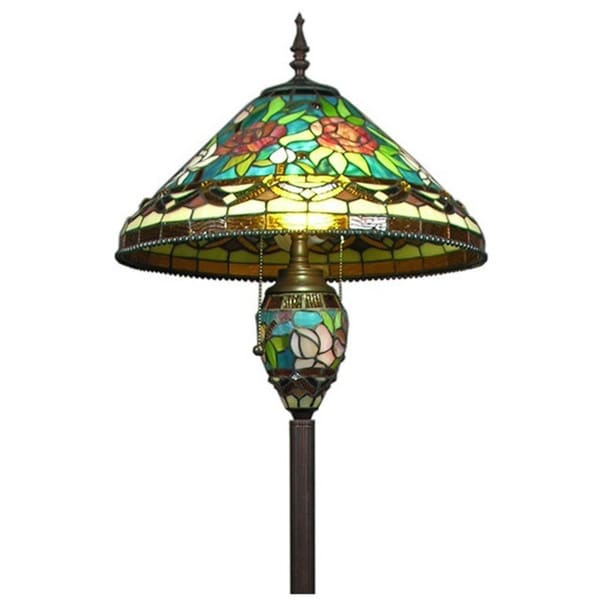 Tiffany-style Stained Glass 3-light Floor Lamp