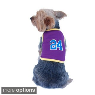 Anima Pet Dog Puppy Sports Number 24 Basketball Jersey Mesh Graphic Tee T Shirt Top