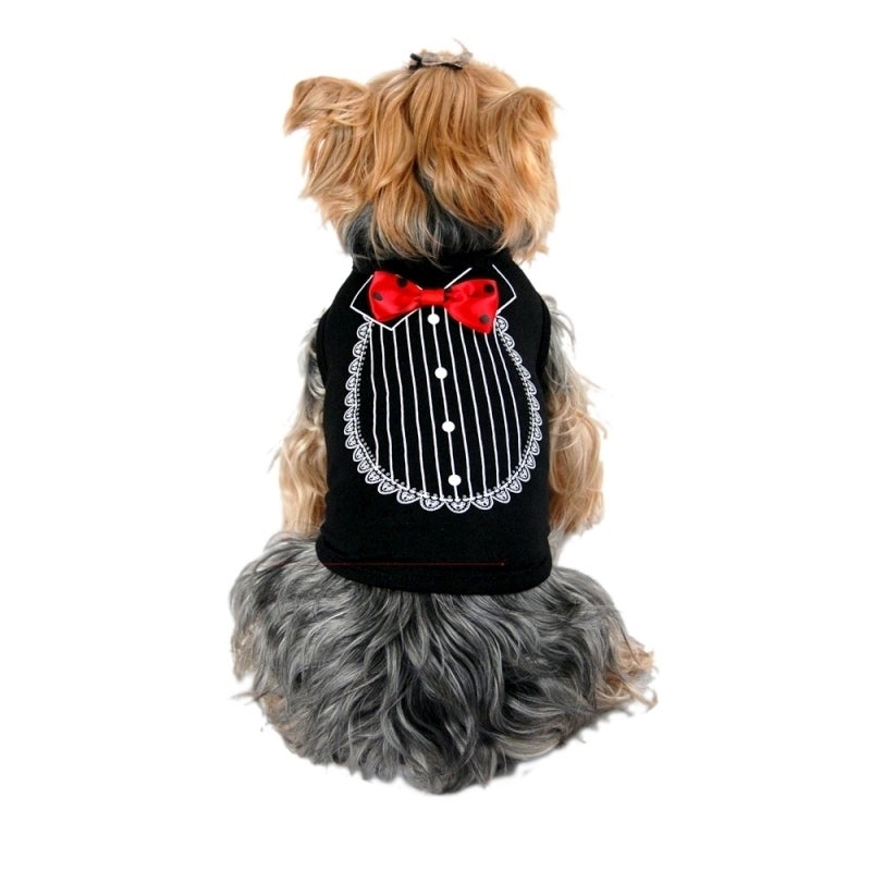 Anima Pet Dog Shirt print Tuxedo With Bow Tie Costume Wed...