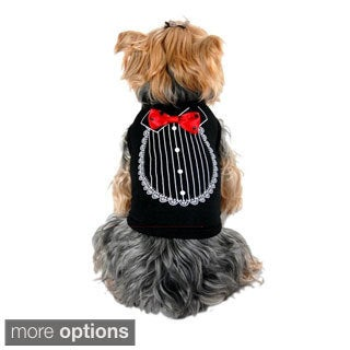 Anima Pet Dog Shirt print Tuxedo With Bow Tie Costume Wedding Puppy Clothes