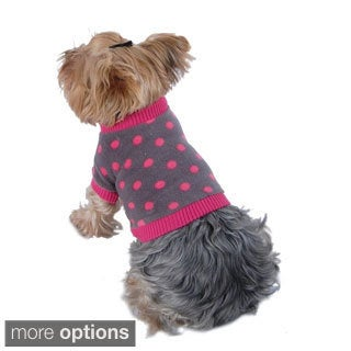 Anima Pet Dog Puppy Apparel Clothes Warm Cozy Gray Polka Dots Fleece Fabric Shirt Top