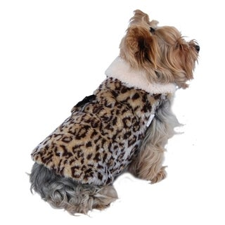 Insten LUXURY Pet Leopard Faux Fur Jacket