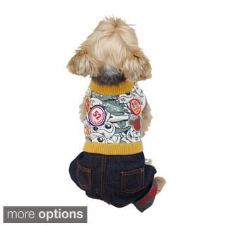 Anima Pet Puppy Dog Clothes T Shirt Apparel With Denim Jeans Pants Set - Yellow