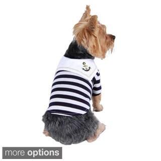 Anima Pet Dog Puppy Clothes Apparel Stylish Sailor Navy Boy Stripe T Shirt Tank Top