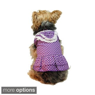 Insten Cute Pet Polka Dots Party Dog Cotton Woven Dress Skirt Clothes Apparel