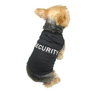 Anima Black Soft Cotton 'Security' Dog T-shirt