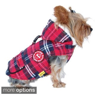 Anima Red/ Navy Blue Plaid Dog Parka with Hat