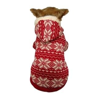 Insten Red/ White Winter Snowflake Dog Hoodie
