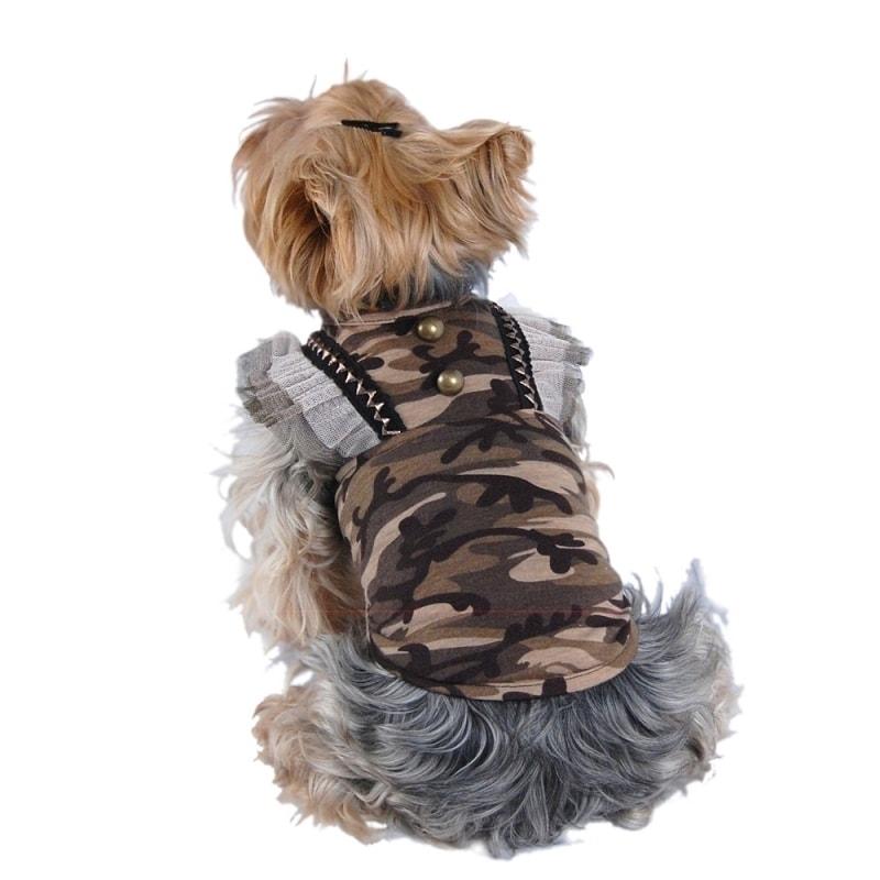 ANIMA Soft Fabric Camo (Green) Print Dog Dress (Extra Sma...