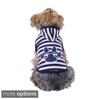 Insten Puppy Dog Pet Soft Clothes Stripe Paw Print Hoodie Apparel