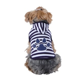 Anima Blue/ White Soft Clothes Stripe Paw Print Puppy Dog Hoodie - Blue/White