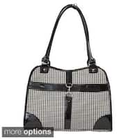 Anima Portable Pet Dog Cat puppy Houndstooth Print Fabric Carrier Travel Tote Bag